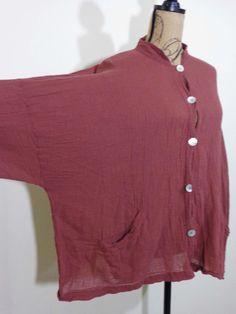 Bryn Walker jacket lagenlook top art to wear artsy mauve crinkle gauze boxy OS #BrynWalker #BasicJacket