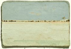 """Robert Ohnigian - """"Landscape #4""""  7 1/4 x 5 inches - Paper collage on antique book cover with graphite."""