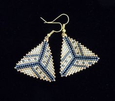 Striped Border Peyote Triangle Earrings Delica by PreserveStudio