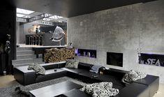 Salon avec canapé en cuir en U