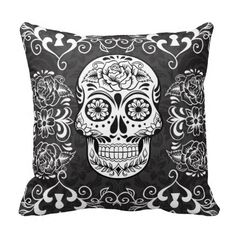 Decorative Sugar Skull Black White Gothic Grunge Design Throw Pillow or Accent Cushion with a skull and roses and decorative flourishes and hearts. The background is a subtle damask pattern. Perfect for Day of the Dead or Halloween. Halloween Pillows, Halloween Home Decor, Gothic Halloween, Halloween Fun, Custom Pillows, Decorative Pillows, Sugar Skull Decor, Sugar Skulls, Accent Pillows