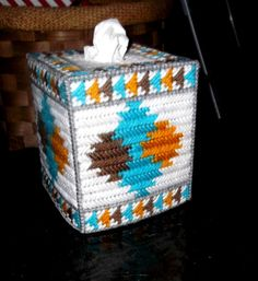 Southwest Tissue Box Cover Made Of Plastic Canvas Plastic Canvas Tissue Boxes, Plastic Canvas Crafts, Plastic Canvas Patterns, Fun Crafts, Diy And Crafts, Arts And Crafts, Kleenex Box, Southwestern Decorating, Country Art