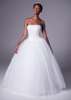 Bride&co wedding dress, Satin cuffed bodice and full tulle skirt ballgown wedding dress.