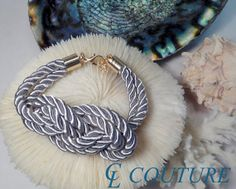Grey Nautical Silk Rope Infinite Knot Bracelet by CLCouture
