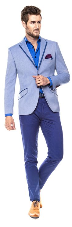 Kolekcja Giacomo Conti 2014 - błękitna marynarka Enrico 14/39 OM, niebieska koszula męska Riccardo 14/05, granatowe spodnie Domenico 14/10T, musztardowe brogsy. #giacomoconti