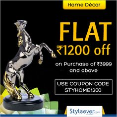 Celebrate the auspicious Diwali with offers on Home Decor . Flat Rs 1200 off on purchase of Rs 3999 and above.