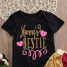 Infant Baby Boy Girls Clothing 2pcs 'Mommy's Bestie' Printed Romper+Sequins Short Bow-knot Pants Summer Bodysuit Outfits Set (6-12Months)