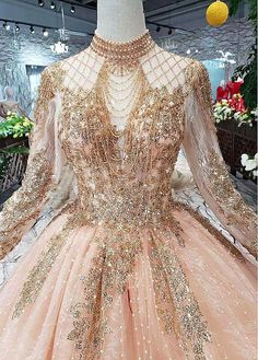 Lilybridalshop Winsome Lace & Sequin Lace High Collar Ball Gown Wedding Dresses With Beadings Country Wedding Dresses, Princess Wedding Dresses, Dream Wedding Dresses, Gown Wedding, Sequin Wedding, Dresses Elegant, Pretty Dresses, Vintage Dresses, Formal Dresses