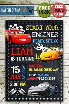 Disney Cars Invitations Printables, Disney Cars Invite, Cars 3, Disney Cars Birthday Party, Disney Cars Printable, DIY – MakeMeDesign