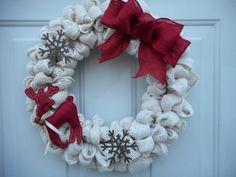 Christmas burlap wreath Winter burlap wreath by ChloesCraftCloset
