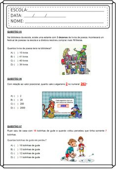 Atividades de Matemática 3 ano do ensino fundamental Primary School, Education, Pasta, Student, Index Cards, Autism, Elementary Schools, Teaching, Onderwijs