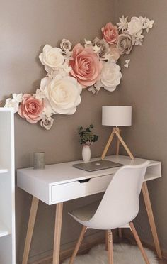 Paper Flowers Wall Decoration - Nursery Paper Flowers - Wall Paper Flowers Decor - Large Paper Flowers - Nursery Wall Decor - New Ideas Paper Flower Decor, Large Paper Flowers, Flower Wall Decor, Flower Decorations, Paper Wall Decor, Paper Flowers On Wall, Diy Wall Flowers, Paper Flower Backdrop, Room Decoration With Flowers