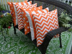 Set of 6 - Indoor Outdoor Orange and White Pattern Pillows- Chevron, Stripe & Polka Dot (2 of each pattern) by PillowsCushionsOhMy, $119.88