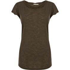 OASIS Basic Twist Neck T-Shirt ($9.17) ❤ liked on Polyvore featuring tops, t-shirts, shirts, short sleeve, tees, t shirts, brown t shirt, oasis shirt, brown tops and short sleeve tops