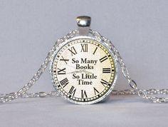 BOOK LOVER PENDANT Clock Books Pendant Bookworm Gift Book Necklace Vintage Clock…