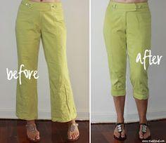meggipeg: Refashion flared pants into skinny cuffed capris - a tutorial