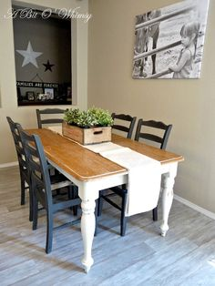 Rustic Refinished Table and Chairs.  Custom furniture refinishing and furniture for sale at www.abitowhimsy.com