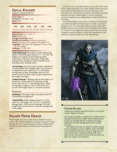 & Dragons — Some undead creatures. Dnd Dragons, Dungeons And Dragons 5e, Dungeons And Dragons Characters, Dungeons And Dragons Homebrew, Dnd Characters, Undead Knight, Dnd Stats, Dungeon Master's Guide, Dnd Classes