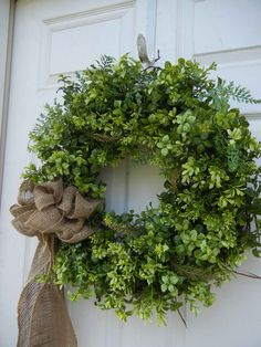 Spring / Summer Wreath , Woodland Wreath , Front Door , Wreath , Primitive Wreath , Burlap Bow , Year Round. $89.00, via Etsy.