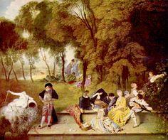 ANTOINE WATTEAU, 1684 - 1721: Fete Champetre (detail). Oil on canvas, 60 x 75.