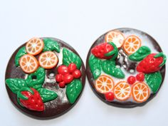 Large Buttons  food buttons  miniature food handmade buttons decoration buttons  Fruit  cake  Set of buttons (2) - pinned by pin4etsy.com