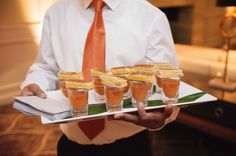 Grilled Cheese Atop Tomato Soup Shooters    Photography: Next Exit Photography   Read More:  http://www.insideweddings.com/weddings/carol-leifer-and-lori-wolf/887/
