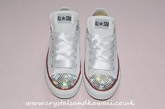 Customised Crystal White Low Top All Star Converse with Blinged Crystal Toes & White Ribbon Custom Order Wedding Shoes Adult Womens Size on Etsy, $107.88