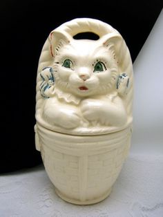 American Bisque Cat In a Basket Cookie Jar