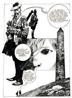"""La torre Tavola originale per storia pubblicata su """"Alter Alter"""", anni '80. Matita e china su cartoncino cm 36,5x50,8 (disegno cm 25,5x35)"""