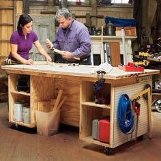 Build an easy DIY tool storage bench that doubles as a work surface using plywood to construct one large box and two smaller ones, and fit them with shelves.