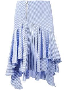 Shop Off-White striped high-low skirt. Stripe Skirt, Ruffle Skirt, Ruffle Blouse, Hi Low Skirts, Maxi Skirts, Culottes, Cotton Skirt, White Skirts, White Style