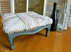 reupholstered ottoman  <3 this! Fabulous makeover