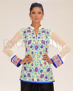 #Exclusivelyin, #IndianEthnicWear, #IndianWear, #Fashion, Off-white Short Kurta Tunic with Dark Blue and Turquoise Applique Motifs