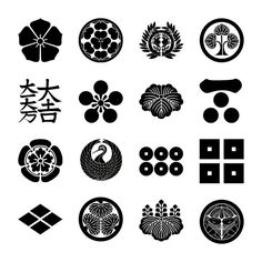 Examples of emblems of famous samurai families from the Sengoku period.