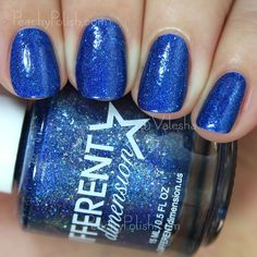"Different Dimension: Cosmologically Speaking Collection - ""Blue Shift"" is a deep royal blue linear holo with bits of silver flecks and blue microglitter and shimmer.  This color is off the charts lush.  So intense.  2 coats but it's a one-coater. <3"