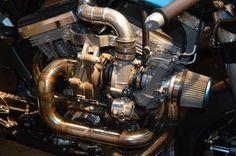 Garrett's turbine is paired with a Keihin FCR41 carburetor on the Avinton Race R