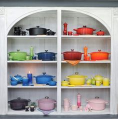 Le Creuset....I want it all...pink...or yellow...or blue...or everything... <3