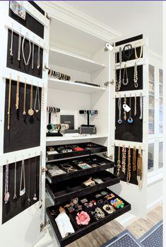 Jewelry cabinet in walk-in closet