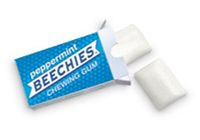 Beechies white candy-coated Icy-Cool Peppermint Gum. Each tiny box contains 2 chicklets