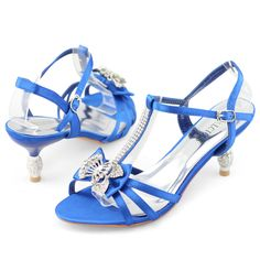 womens baby blue wedding heels | womens satin diamante strappy wedding party dress kitten heels shoes ...