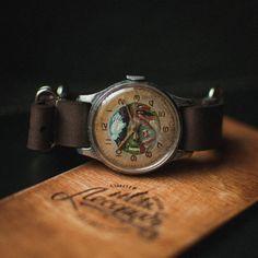 Rare unisex wrist watch Pobeda, mechanical watch 50s, ladies vintage watch, mens watch, soviet watch, hand painted dial case