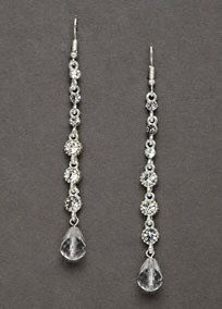 "Looking for simple elegance- these earrings are for you!   Single stand earring with clear bead drop.  Measures: 2 1/2"".  Available in: silver.  Imported."