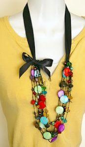 Collar de Piedras con Listón  DIYrosa.com Facebook: fb.com/DIYrosa Twitter: @DIYrosa