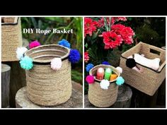 DIY Rope Basket | How to upcycle plastic bottles/cardboard boxes into pretty baskets. - YouTube