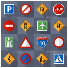 Road Traffic Signs Flat Icons Set #design Download: http://graphicriver.net/item/road-traffic-signs-flat-icons-set/12228926?ref=ksioks