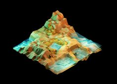 Great pixelated landscapes by Timothy J. Reynolds - Lakes