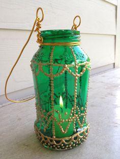 Moroccan-Inspired Painted Jar Lantern DIY = #jar #lantern #moroccan #crafts