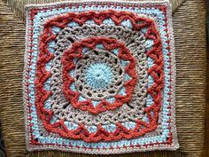 "Anticipation Mystery Afghan 12"" block, free pattern by Margaret MacInnis"