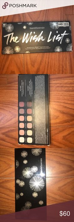 bareMinerals The Wish List Pallete Gorgeous pallete from bareMinerals; 12 shadows; ONLY BEEN USED A COUPLE TIMES bareMinerals Makeup Eyeshadow
