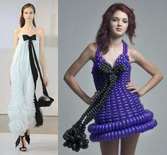 Balloon dress Runway Fashion, Fashion Art, Fashion Show, W Dresses, Fashion Dresses, Balloon Modelling, Balloon Dress, Crazy Outfits, Student Fashion